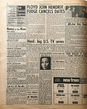 jimi hendrix collector newspapers/new musical express 14/10/67  floyd join hendrix fudge cancels dates