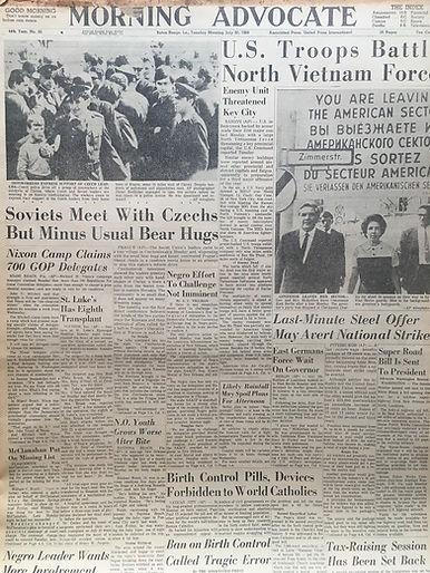 jimi hendrix newspaper/morning advocate july 30 1968