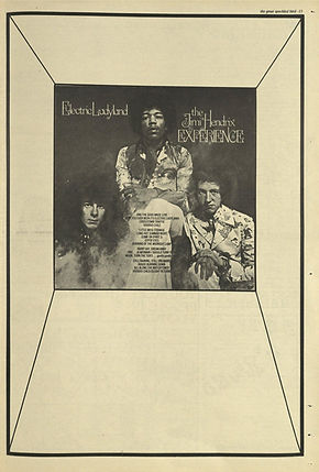 jimi hendrix newspaper 1968 / the great speckled bird 7/10/68  ad : electric ladyland