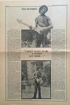 jimi hendrix newspapers 1969/rolling stone november 15, 1969