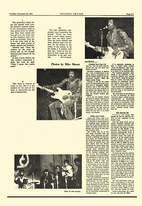 jimi hendrix newspaper 1968/the heights november 26 1968
