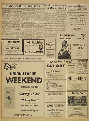 jimi hendrix newspapers 1968/the michigan daily :AD concert