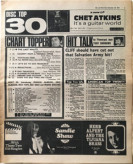 jimi hendrix collector newspapers/disc music echo/23/9/67 top30 burning of the midnight lamp N°19/top ten LPare you experienced N°10