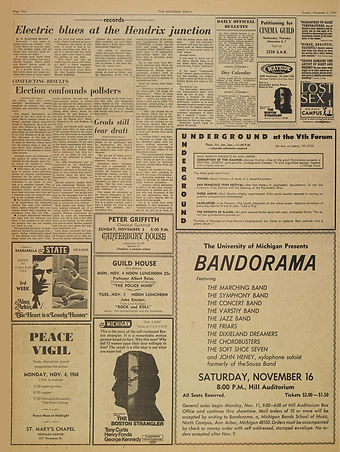 jimi hendrix newspapers 1968/the michigan daily november 3, 1968