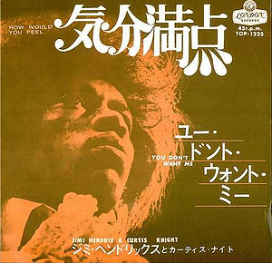 jimi hendrix singles 45t vinyls/how would you feel / you don't want me japan 1968