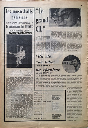 jimi hendrix collector newspape/15a20ans/ music-halls parisiens 9/october 1967 jimi hendrix experience /paris