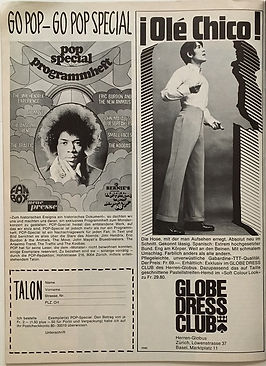 jimi hendrix magazine/pop july 1968/AD: go pop special programmheft