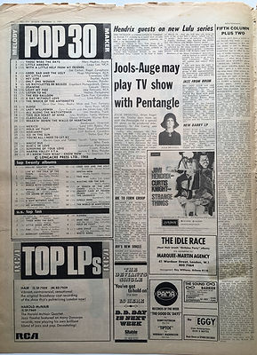 jimi hendrix newspaper 1968/melody maker top 30 /All along the watchtower N°17