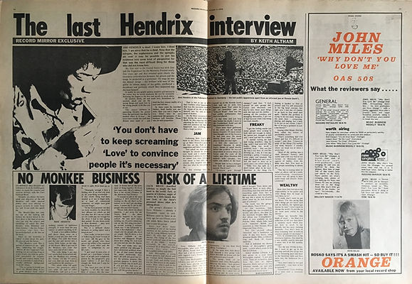 jimi hendrix newspapers: record mirror  October 3, 1970 / the last hendrix interview