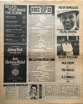 jimi hendrix newspaper 1969/top 15 lps new musical express january 4 1969