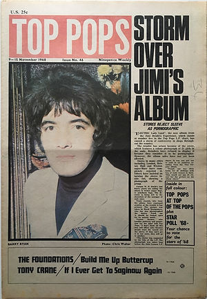 jimi hendrix newspaper 1968 / top pops 15/11/68 storm over jimi's album