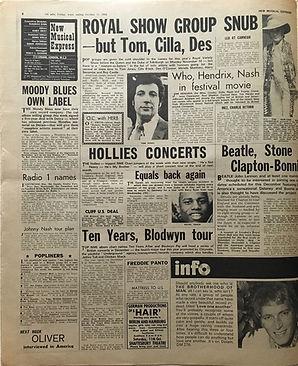 jimi hendrix newspaper 1969/new musical express october 11 1969