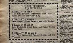 ad/fillmore auditorium san francisco/jimi hendrix newspaper collector 1968 february 2