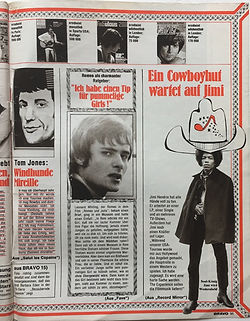 jimi hendrix magazine 1969/bravo april 14 1969/ a cowboy  hat is waiting for jimi