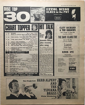 jimi hendrix newspaper 1968/disc music echo november 16/1968 top 30