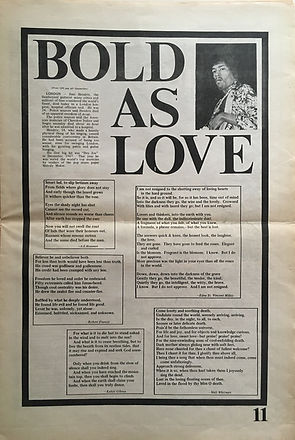 jimi hendrix newspapers: big fat  October 1970  bold as love
