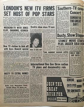 jimi hendrix newspaper/new musical express may 11 1968/hendrix show stuns tv men