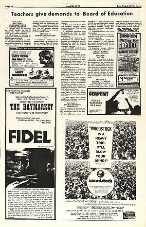jimi hendrix newspapers 1970 / los angeles free press april 24,1970