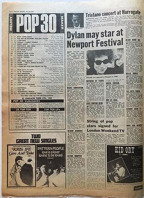 jimi hendrix newspaper/melody maker july 20 1968 top ten LPs:smasht hits N°10