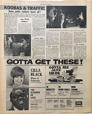 jimi hendrix newspaper/new musical express june 8 1968/ zurich with jimi, eric,move, koobas,traffic
