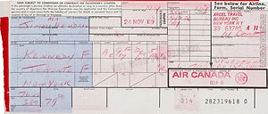 jimi hendrix memorabilia 1969/airline ticket toronto december 7 1969