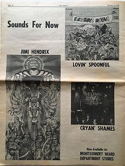 jimi hendrix newspaper/beat : AD : axis bold as love