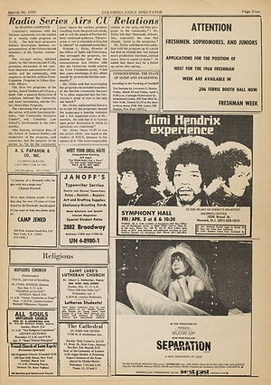 jimi hendrix newspapers collector 1968 / 1968-03-28 Columbia Daily Spectator, New york
