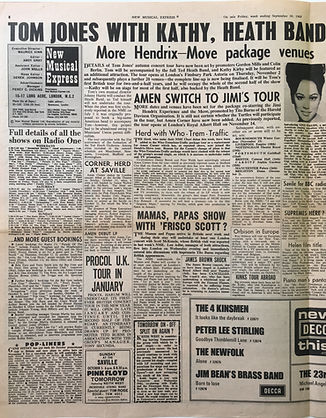 jimi hendrix collector newspapers/hendrix move package venues/jimi's tour