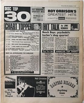 jimi hendrix collector newspapers/disc music echo/ 9/9/1967 /hit talk by jimi hendrix