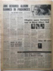 jimi hendrix newspaper 1968/melody maker jimi hendrix album banned in provinces november 9 1968