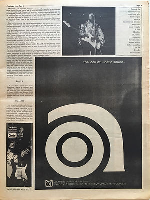 jimi hendrix newspaper/go magazine/september 27/1968 the sound of today