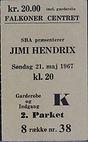 jimi hendrix memorabilia/ticket/21/5/1967
