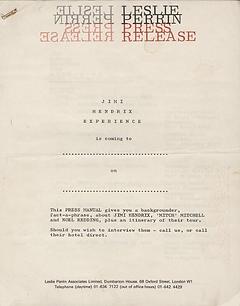 jimi hendrix memorabilia 1967 / press kit