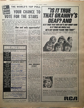 jimi hendrix newspaper 1968/new musical express /jimi hendrix story 16/11/68