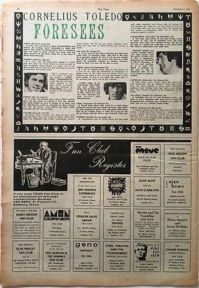 jimi hendrix collector newspaper/top pops 7/11/1967 fan club jimi hendrix