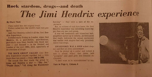 jimi hendrix newspapers 1970/ chicago daily news september 19 & 20, 1970