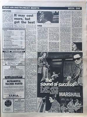 jimi hendrix collector newspaper/melody maker AD marshall jimi hendrix experience/the sound of success 28/10/1967 melody maker