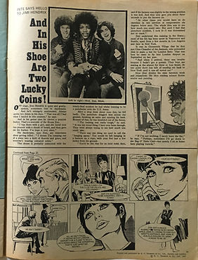 jimi hendrix collector magazine/jackie N°203/ 25/11/67 Pete says hello to jimi hendrix and in his shoe are two lucky coins!