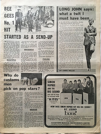 jimi hendrix collector newspaper/melody maker 4/11/67