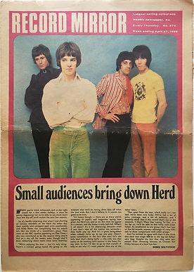 jimi hendrix newspaper/record mirror 27/4/1968 mitch mitchell interview