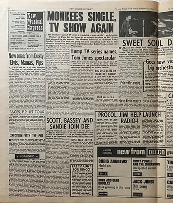 jimi hendri collector newspaper/new musical express 16/9/67  jimi/radio1