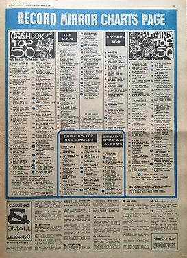 jimi hendrix newspaper/record mirror september 7 1968 / top LPs:smash hits N°24
