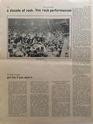jimi hendrix newspapers 1970 /rock : jan.5, 1970 / live rock performances