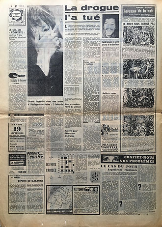 jimi hendrix newspapers 1970 / le parisien sept. 19 & 20, 1970