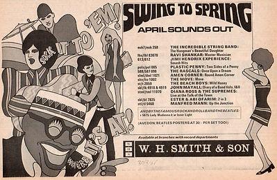 jimi hendrix newspaper/new musical express 30/3/68 smash hits/ad