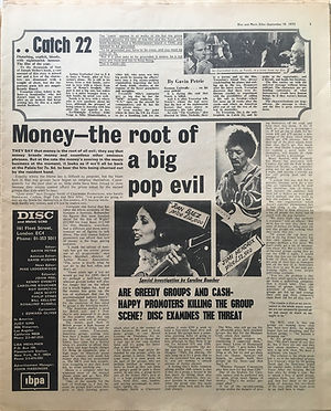 jimi hendrix newspaper 1970 /disc music echo  september 19, 1970