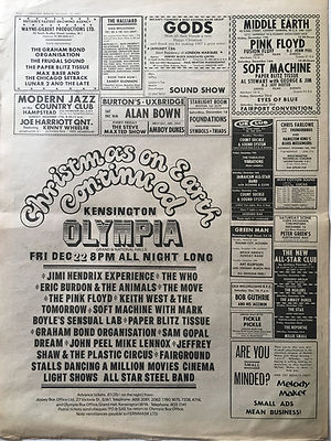 jimi hndrix newspaper collector/AD concert chrismas on earth continned 22/12/1967