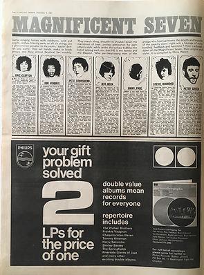 jimi hendrix collector newspapers/melody maker 9/9/1967/magnificent seven...jimi hendrix