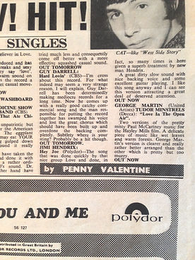 jimi hendrix newspaper/disc music echo 31/12/66 review hey joe