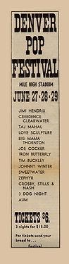 jimi hendrix memorabilia 1969/denver pop festival 1969